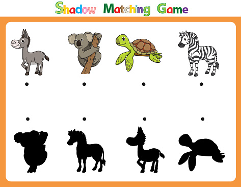 Vector illustration for learning  shadow of different shapes. For children witch  4 cartoon images Donkey, Koala, Turtle, Zebra.