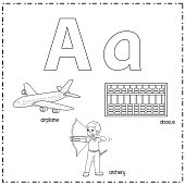 istock Vector illustration for learning the letter A in both lowercase and uppercase for children with 3 cartoon images.Airplane Archery Abacus. 1336669035