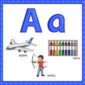 istock Vector illustration for learning the letter A in both lowercase and uppercase for children with 3 cartoon images.Airplane Archery Abacus. 1338395620