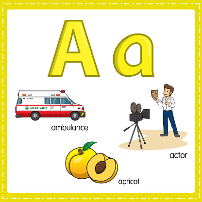 Vector illustration for learning the letter A in both lowercase and uppercase for children with 3 cartoon images. Ambulance Apricot Actor.