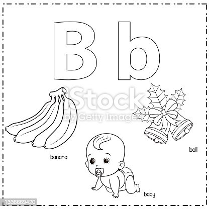 istock Vector illustration for learning the letter B in both lowercase and uppercase for children with 3 cartoon images. Banana Baby Bell. 1336669420