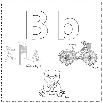Vector illustration for learning the letter B in both lowercase and uppercase for children with 3 cartoon images. Beach volleyball Bear Bicycle.