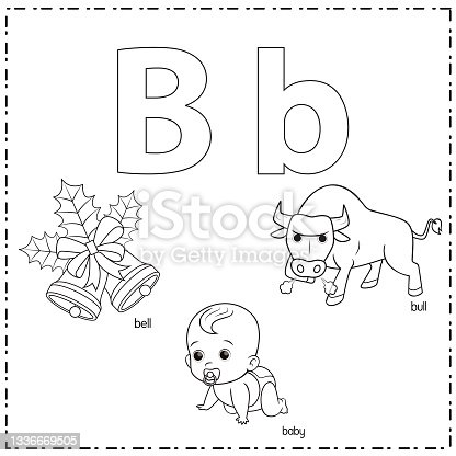 istock Vector illustration for learning the letter B in both lowercase and uppercase for children with 3 cartoon images. Bull Baby Bell. 1336669505
