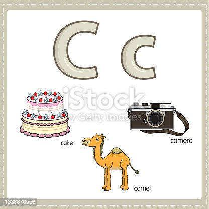 istock Vector illustration for learning the letter C in both lowercase and uppercase for children with 3 cartoon images. Cake Camel Camera. 1336670556