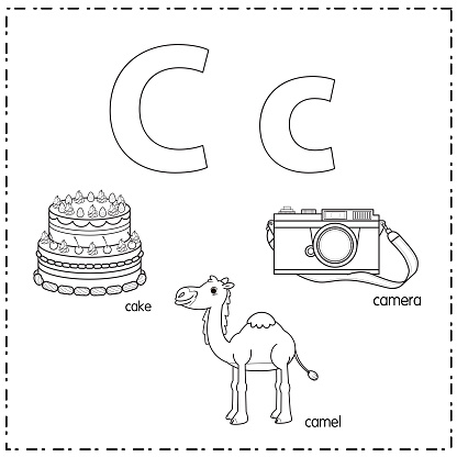 Vector illustration for learning the letter C in both lowercase and uppercase for children with 3 cartoon images. Cake Camel Camera.