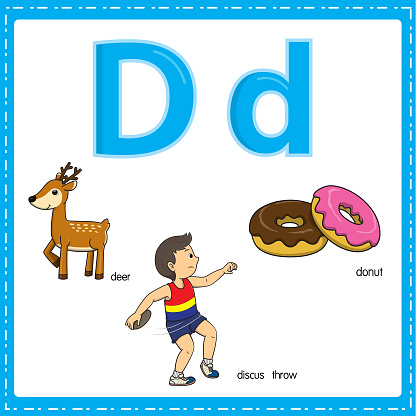 Vector illustration for learning the letter D in both lowercase and uppercase for children with 3 cartoon images. Deer Discus throw Donut.
