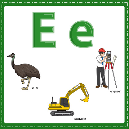 Vector illustration for learning the letter E in both lowercase and uppercase for children with 3 cartoon images. Emu Excavator Engineer.