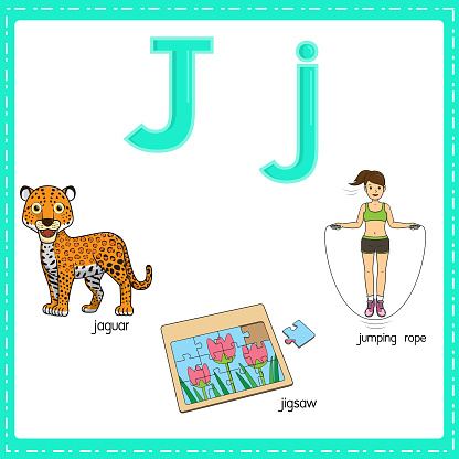 Vector illustration for learning the letter J in both lowercase and uppercase for children with 3 cartoon images. Jaguar Jigsaw Jumping rope .