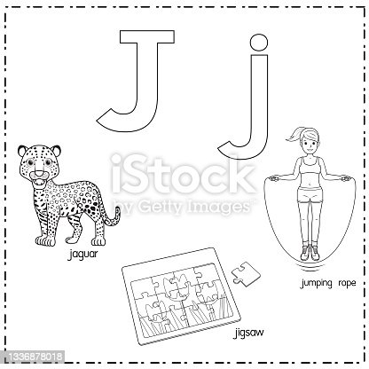 istock Vector illustration for learning the letter J in both lowercase and uppercase for children with 3 cartoon images. Jaguar Jigsaw Jumping rope . 1336878018