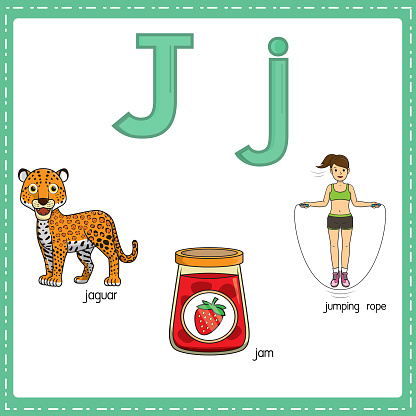 Vector illustration for learning the letter J in both lowercase and uppercase for children with 3 cartoon images. Jaguar Jam Jumping rope .