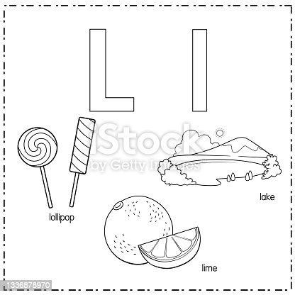 istock Vector illustration for learning the letter L in both lowercase and uppercase for children with 3 cartoon images. Lollipop Lime Lake. 1336878970