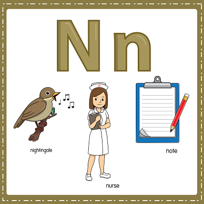 Vector illustration for learning the letter N in both lowercase and uppercase for children with 3 cartoon images. Nightingale Nurse Note.