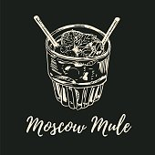 Moscow Mule cocktail illustration. Alcoholic cocktail top side view hand drawn vector illustration. Sketch style.
