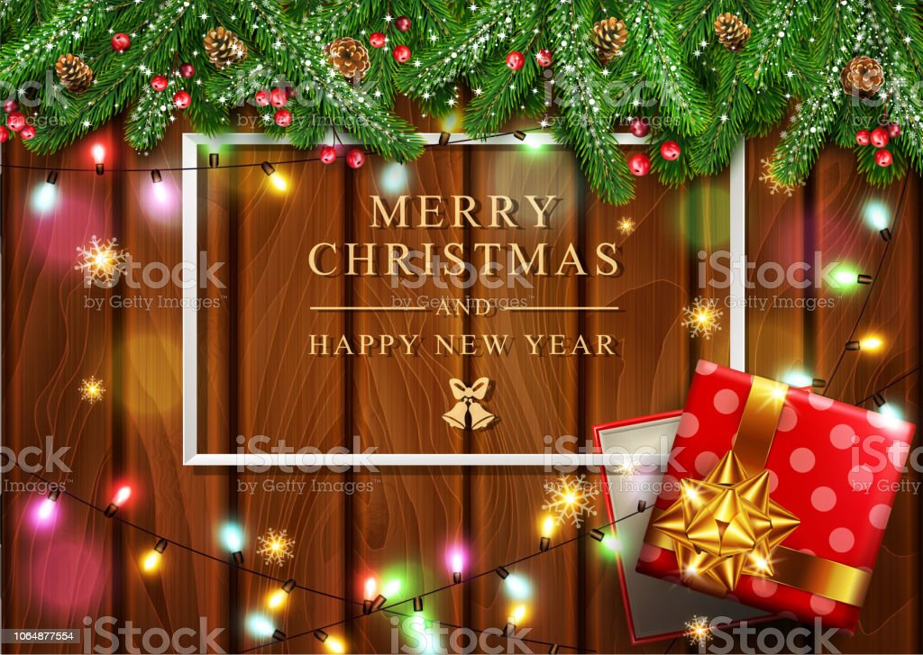 vector illustration for merry christmas and happy new year greeting card with new years with