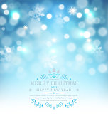 Vector illustration for Merry Christmas and Happy New Year . Greeting card with snow and snowflakes on a blue bokeh background . Template for elegant design of postcard, flyer, congratulatory brochure