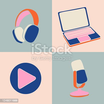 istock Vector illustration for podcasting banners and templates. 1249011666