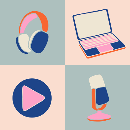 Vector illustration for podcasting banners and templates.