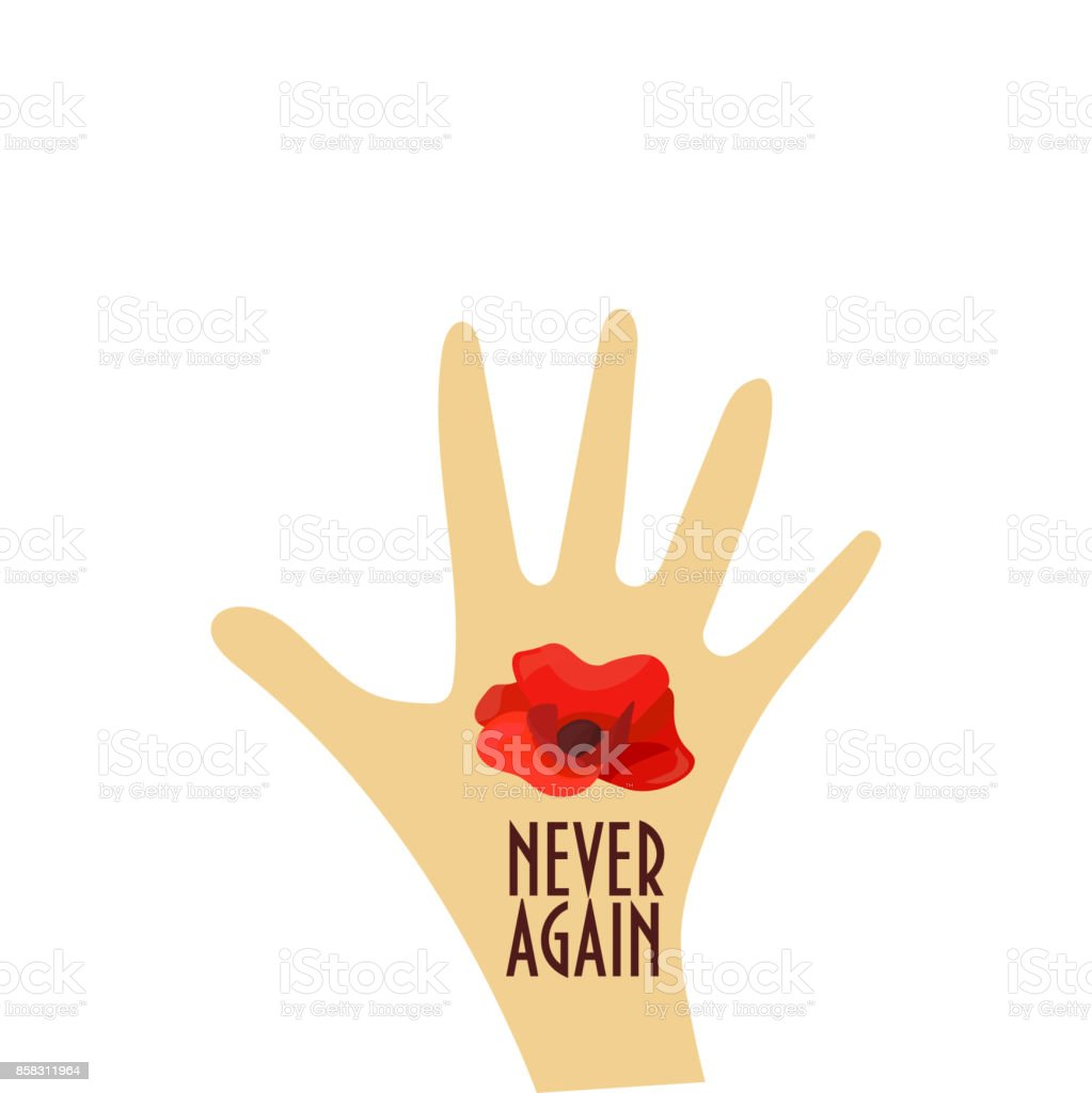 Vector illustration for Remembrance Day also known as Poppy or Armistice day: Poppy flower, hand, text Never Again. Great also for Korean Memorial day. Remembrance Poppy banner template. vector art illustration
