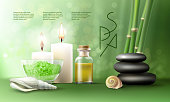 Vector illustration of a realistic style, set for spa treatments with aromatic salt , massage oil, candles on the background of bamboo shoots. Excellent green advertising poster for the spa salon.