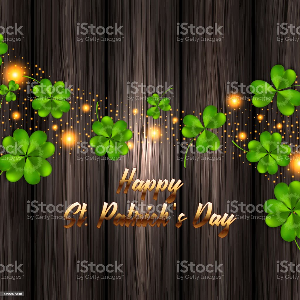Vector illustration for St. Patrick's Day. Realistic clover on a wooden background vector illustration for st patricks day realistic clover on a wooden background - stockowe grafiki wektorowe i więcej obrazów deska royalty-free