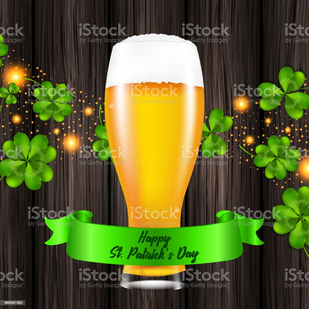 Vector illustration for St. Patrick's Day. Realistic glass of beer on a wooden background royalty-free vector illustration for st patricks day realistic glass of beer on a wooden background stock illustration - download image now