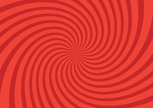 Vector illustration for swirl design. Swirling radial pattern background. Vortex starburst spiral twirl square. Helix rotation rays. Converging psychedelic scalable stripes. Fun sun light beams