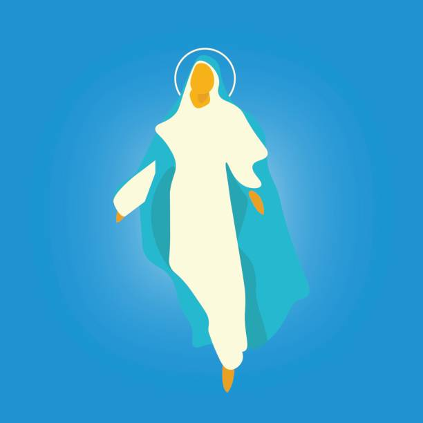 illustrazioni stock, clip art, cartoni animati e icone di tendenza di vector illustration for: the assumption of mary into heaven,  also known as the feast of saint mary the virgin and the falling asleep of the blessed virgin mary or dormition of the mother of god. - ferragosto