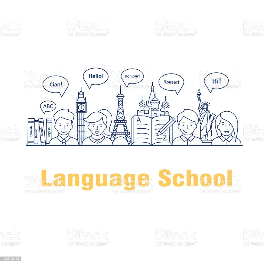 Vector illustration for the language courses and schools. vector art illustration