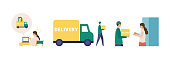 Vector illustration for the online delivery service concept. Order process concept. Isolated graphics.