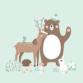 Vector illustration, forest animals, deer, bear, rabbit, hedgehog, bird