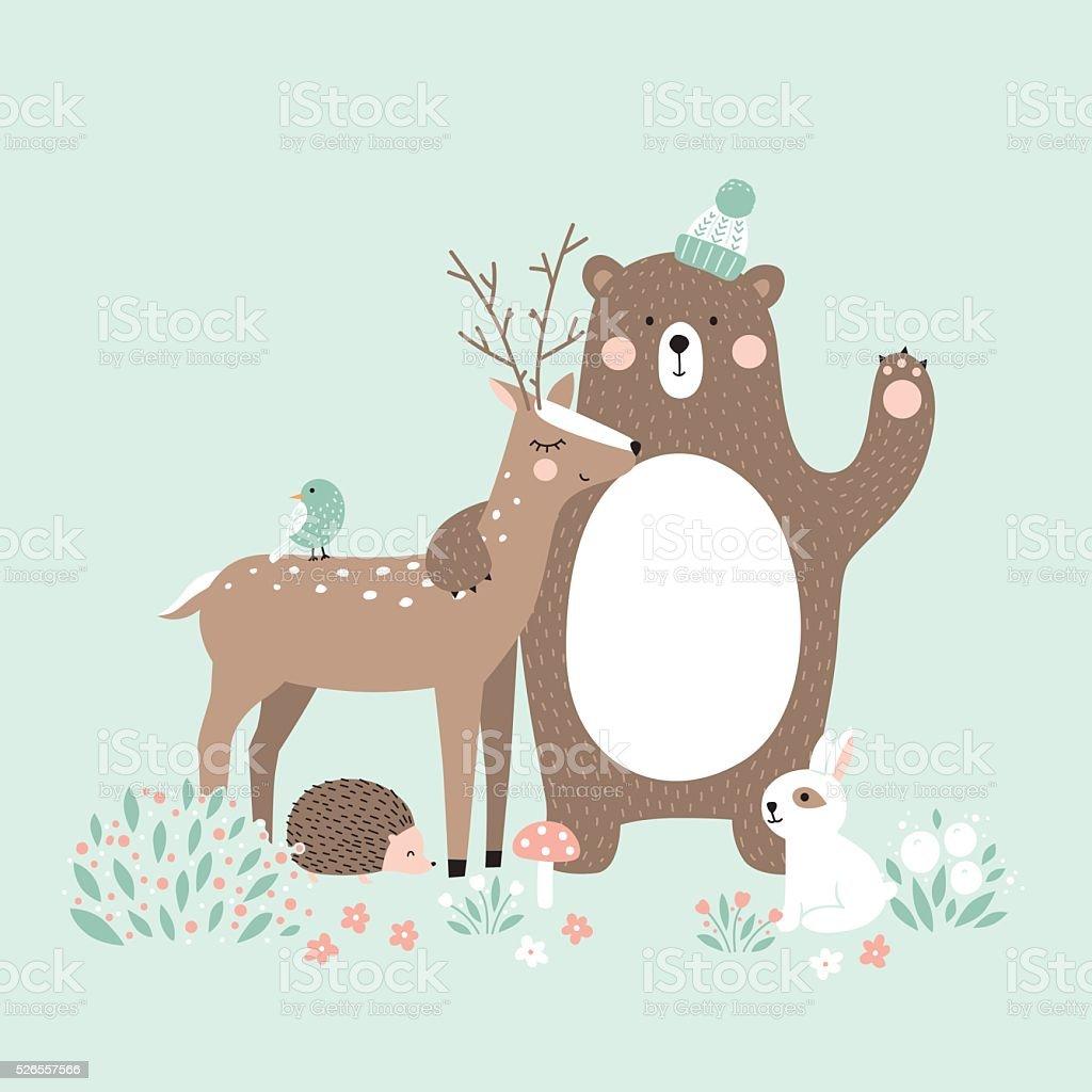Vector illustration, forest animals, deer, bear, rabbit, hedgehog, bird vector art illustration