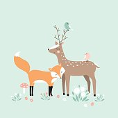 Vector illustration, forest animals, deer, fox, birds