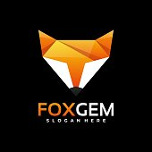 Vector Illustration Fox Gradient Colorful Style.