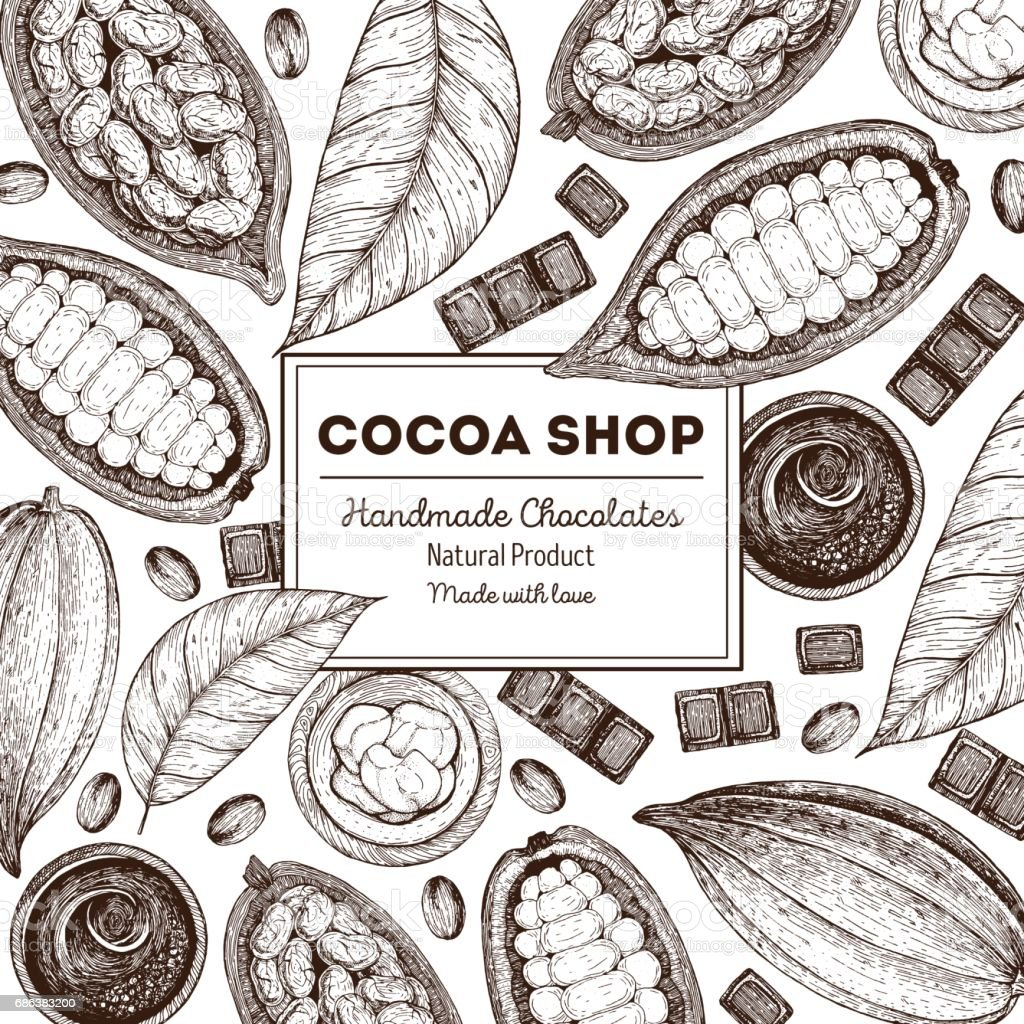 Quadro de ilustração vetorial com produtos de cacau. Alimentos orgânicos, chocolate artesanal. Elementos vintage para o projeto. - ilustração de arte em vetor