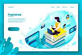 Vector illustration freelancer girl with notebook