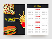 Vector illustration French Food menu card in black and white color.