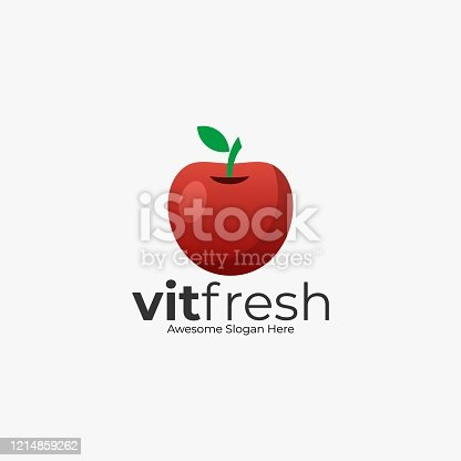 Vector Illustration Fresh Apple Color Style.