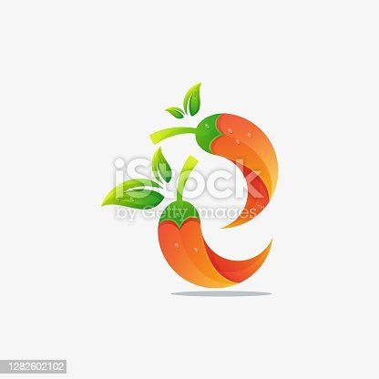 istock Vector Illustration Fresh Chili Gradient Colorful Style. 1282602102