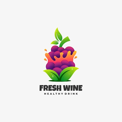 Vector Illustration Fresh Wine Gradient Colorful Style.