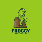 Vector Illustration Frog Simple Mascot Style.