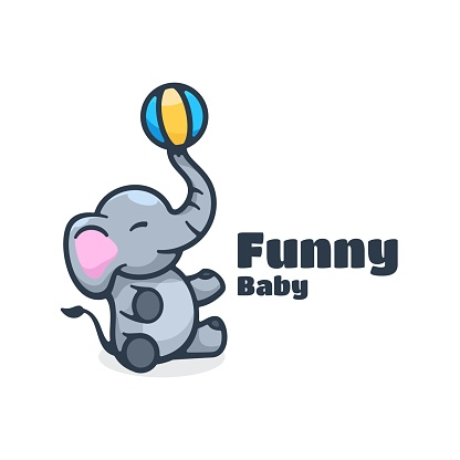Vector Illustration Funny Baby Simple Mascot Style.