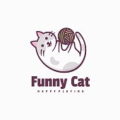 istock Vector Illustration Funny Cat Simple Mascot Style. 1268633694