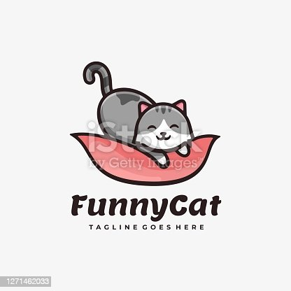 istock Vector Illustration Funny Cat Simple Mascot Style. 1271462033