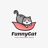 Vector Illustration Funny Cat Simple Mascot Style.