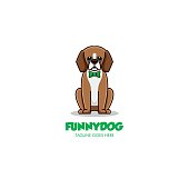 Vector Illustration Funny Dog Simple Mascot Cartoon Style.