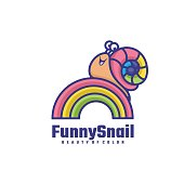 Vector Illustration Funny Snail Simple Mascot Style.