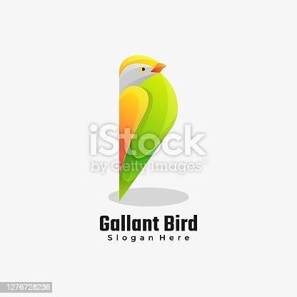 istock Vector Illustration Gallant Bird Gradient Colorful Style. 1276728236
