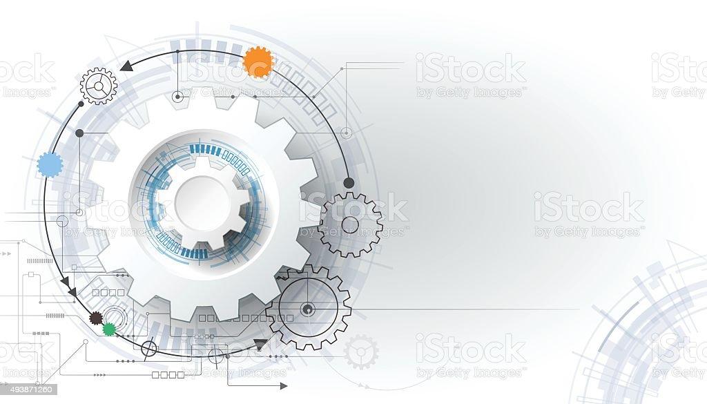 Vector illustration gear wheel and circuit board vector art illustration