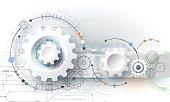 Vector illustration gear wheel, hexagons and circuit board