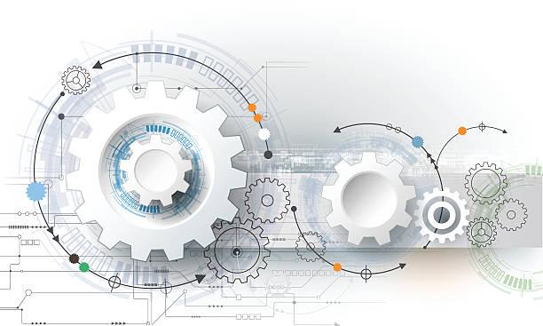 stockillustraties, clipart, cartoons en iconen met vector illustration gear wheel, hexagons and circuit board - complex
